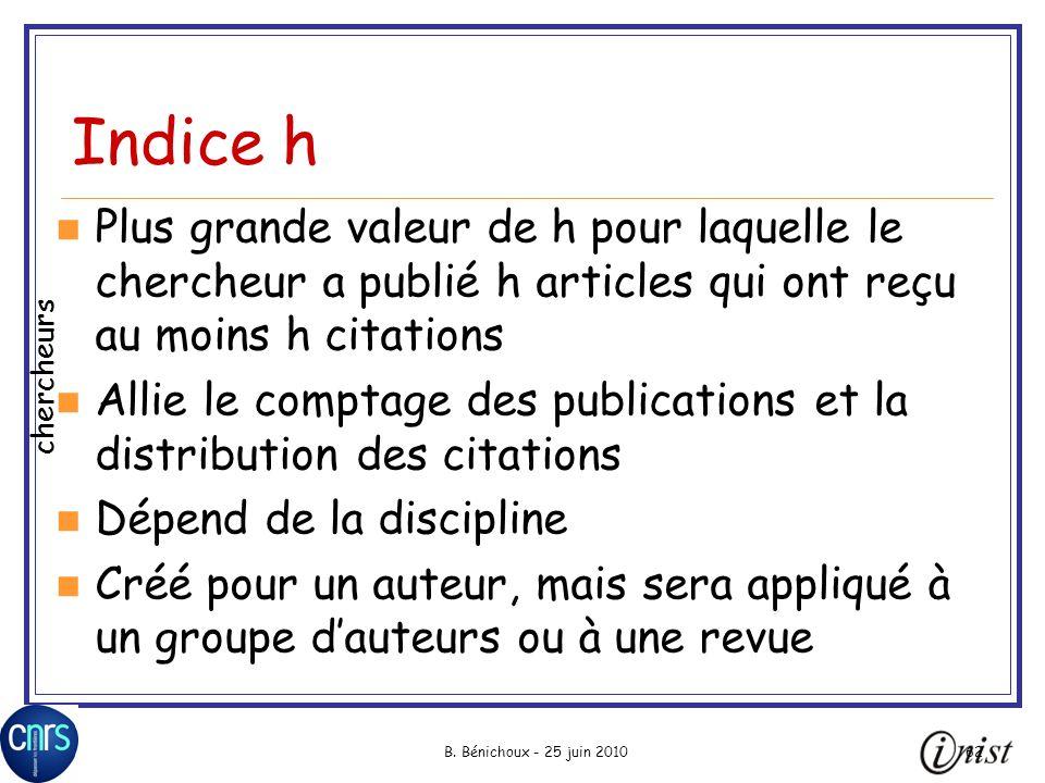 B. Bénichoux - 25 juin 201062 Indice h Plus grande valeur de h pour laquelle le chercheur a publié h articles qui ont reçu au moins h citations Allie