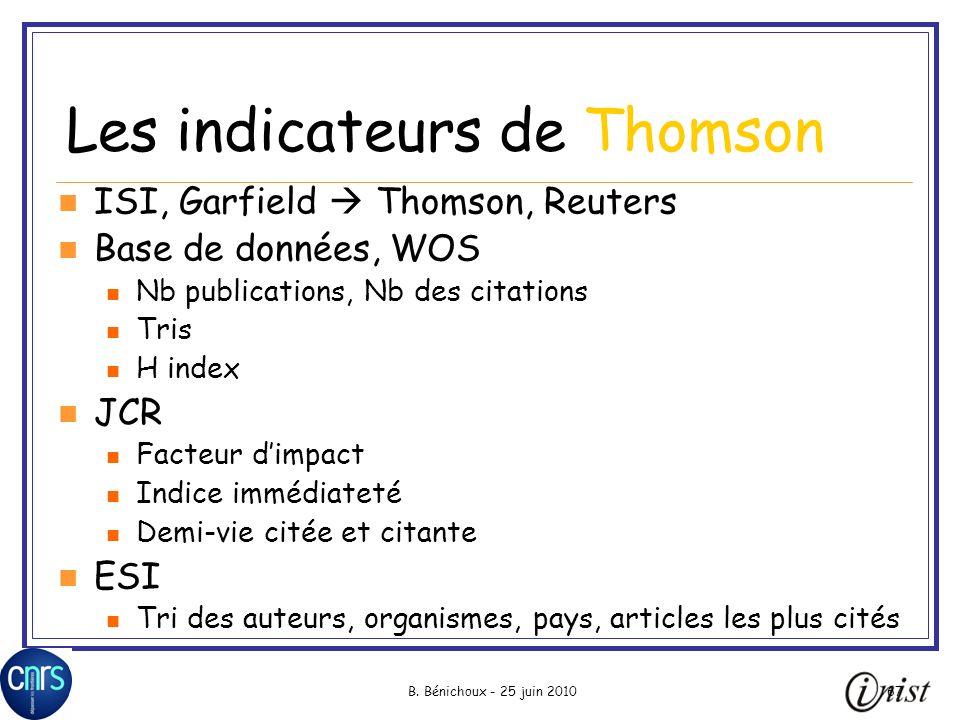 B. Bénichoux - 25 juin 201067 Les indicateurs de Thomson ISI, Garfield Thomson, Reuters Base de données, WOS Nb publications, Nb des citations Tris H