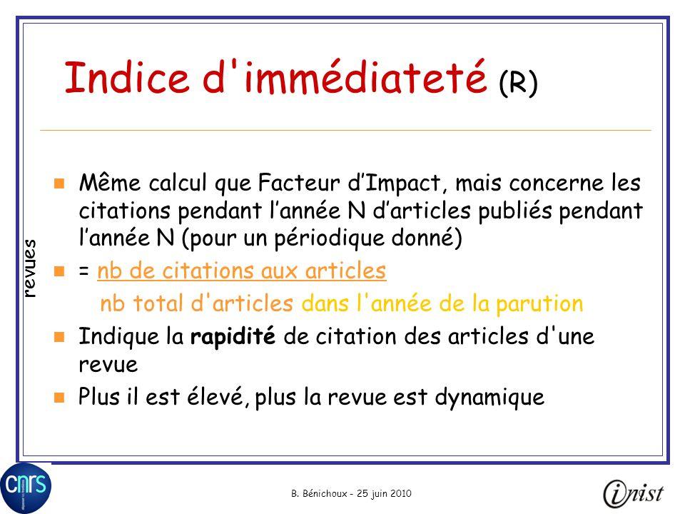 B. Bénichoux - 25 juin 201070 Indice d'immédiateté (R) Même calcul que Facteur dImpact, mais concerne les citations pendant lannée N darticles publiés