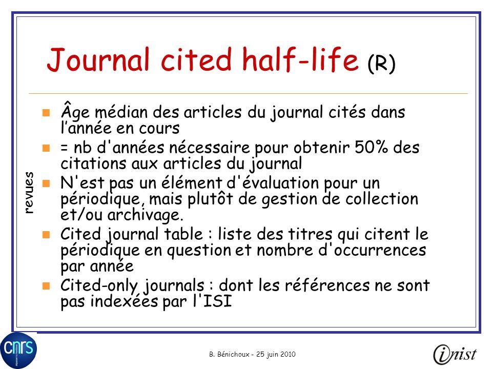 B. Bénichoux - 25 juin 201071 Journal cited half-life (R) Âge médian des articles du journal cités dans lannée en cours = nb d'années nécessaire pour