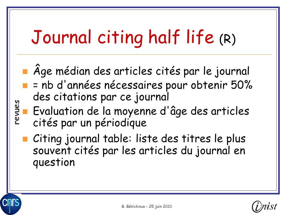 B. Bénichoux - 25 juin 201072 Journal citing half life (R) Âge médian des articles cités par le journal = nb d'années nécessaires pour obtenir 50% des