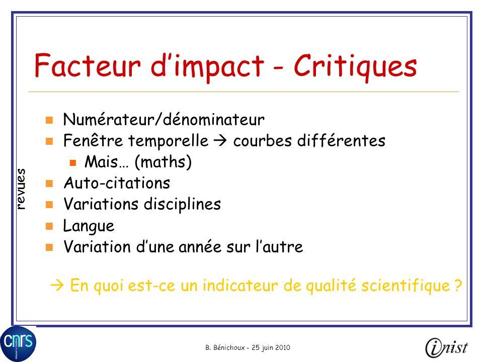 B. Bénichoux - 25 juin 201073 Facteur dimpact - Critiques Numérateur/dénominateur Fenêtre temporelle courbes différentes Mais… (maths) Auto-citations