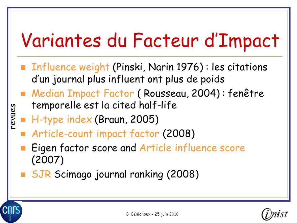B. Bénichoux - 25 juin 201074 Variantes du Facteur dImpact Influence weight (Pinski, Narin 1976) : les citations dun journal plus influent ont plus de