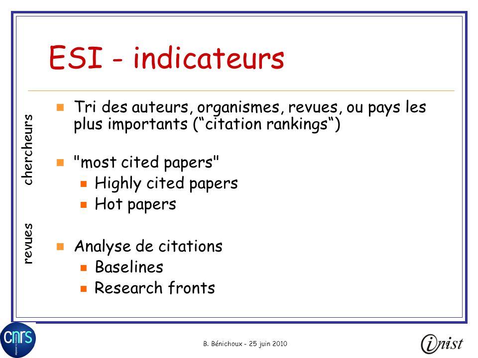 B. Bénichoux - 25 juin 201076 ESI - indicateurs Tri des auteurs, organismes, revues, ou pays les plus importants (citation rankings)