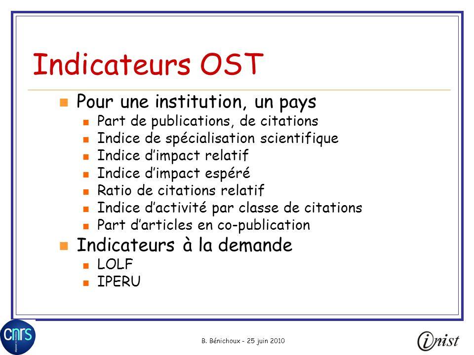 B. Bénichoux - 25 juin 201092 Indicateurs OST Pour une institution, un pays Part de publications, de citations Indice de spécialisation scientifique I