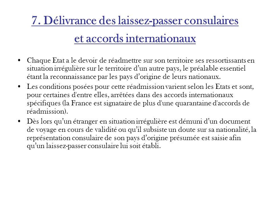 7. Délivrance des laissez-passer consulaires et accords internationaux Chaque Etat a le devoir de réadmettre sur son territoire ses ressortissants en