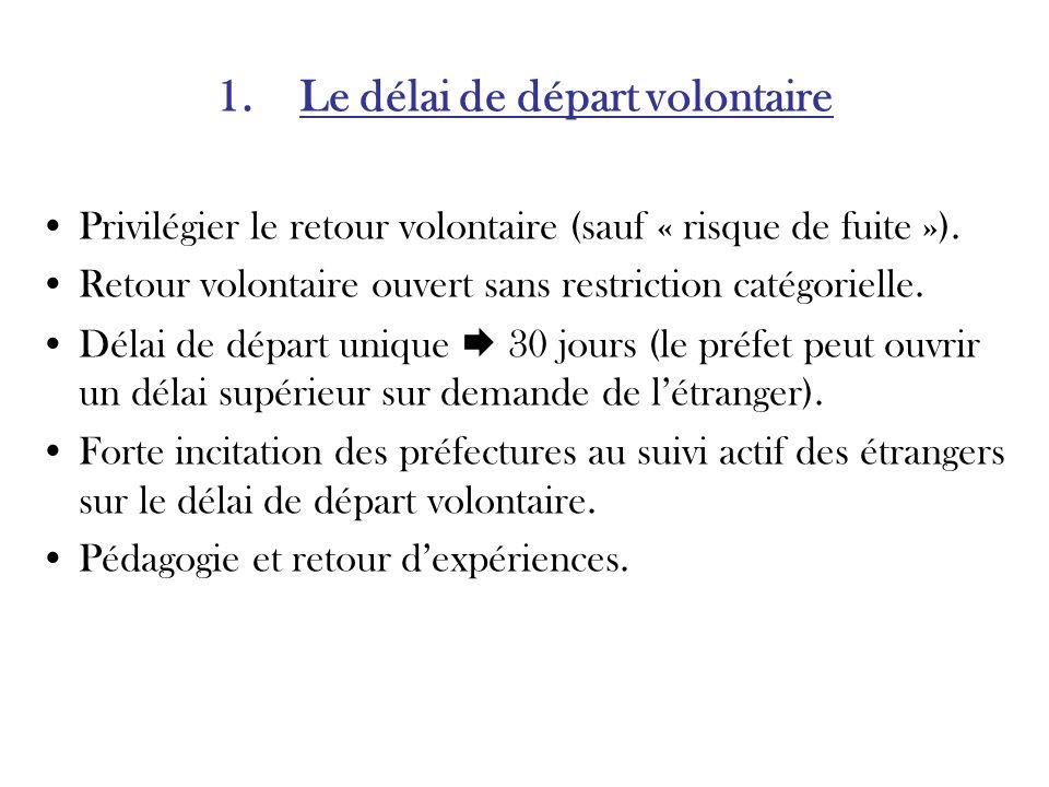 1. Le délai de départ volontaire Privilégier le retour volontaire (sauf « risque de fuite »).