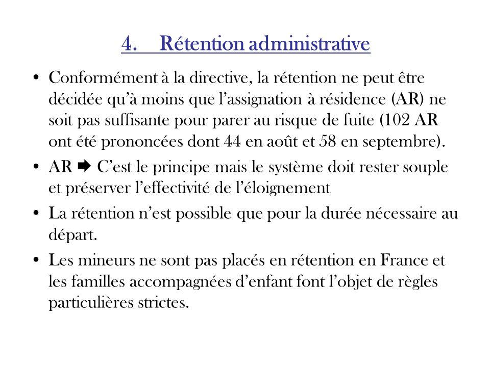4. Rétention administrative Conformément à la directive, la rétention ne peut être décidée quà moins que lassignation à résidence (AR) ne soit pas suf