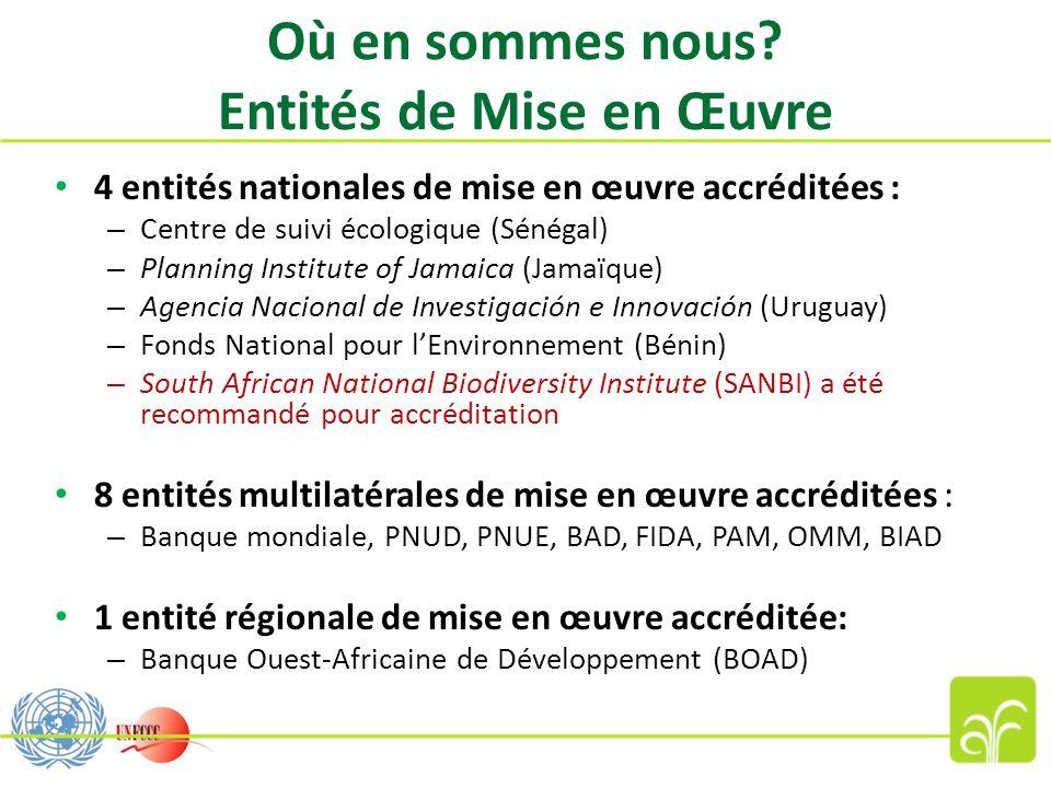 Où en sommes nous? Entités de Mise en Œuvre 4 entités nationales de mise en œuvre accréditées : – Centre de suivi écologique (Sénégal) – Planning Inst