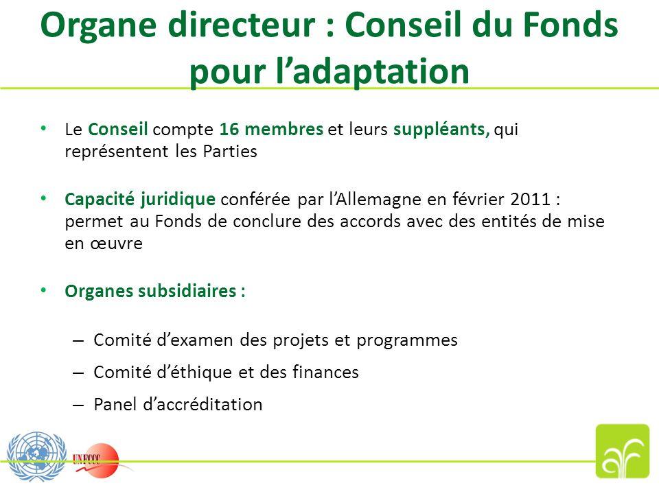 Organe directeur : Conseil du Fonds pour ladaptation Le Conseil compte 16 membres et leurs suppléants, qui représentent les Parties Capacité juridique