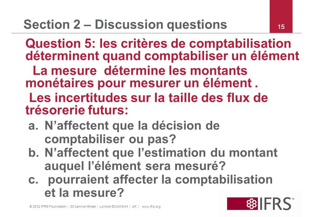 © 2012 IFRS Foundation | 30 Cannon Street | London EC4M 6XH | UK | www.ifrs.org 15 Section 2 – Discussion questions Question 5: les critères de compta