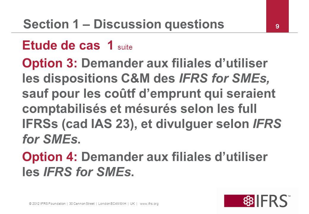 © 2012 IFRS Foundation | 30 Cannon Street | London EC4M 6XH | UK | www.ifrs.org 9 Section 1 – Discussion questions Etude de cas 1 suite Option 3: Dema