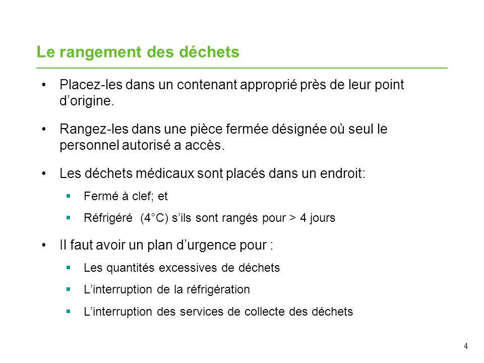 15 Point de contrôle de lapprentissage Vrai ou faux 1.On peut transporter les déchets dans un ascenseur en même temps que les patients/résidents.
