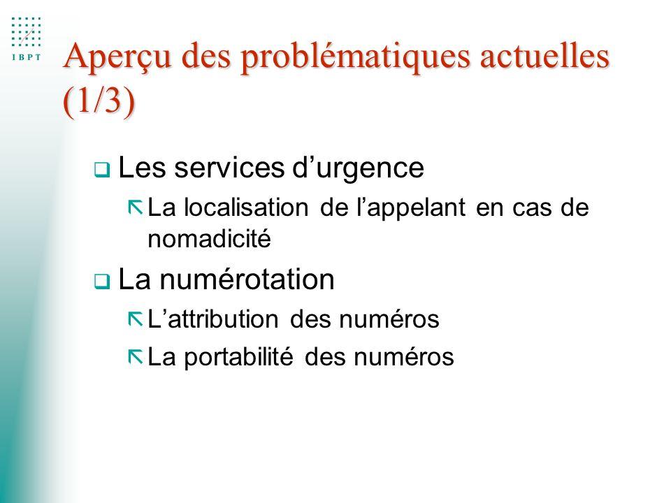 Aperçu des problématiques actuelles (1/3) q Les services durgence ã La localisation de lappelant en cas de nomadicité q La numérotation ã Lattribution