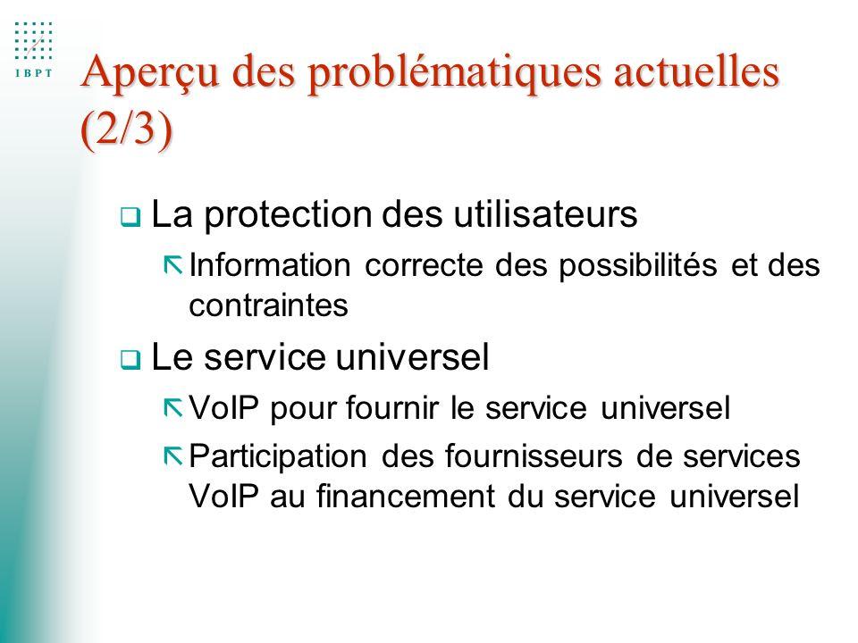 Aperçu des problématiques actuelles (2/3) q La protection des utilisateurs ã Information correcte des possibilités et des contraintes q Le service uni