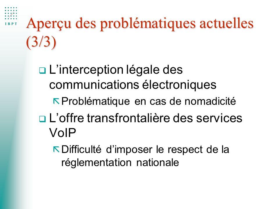 Aperçu des problématiques actuelles (3/3) q Linterception légale des communications électroniques ã Problématique en cas de nomadicité q Loffre transf