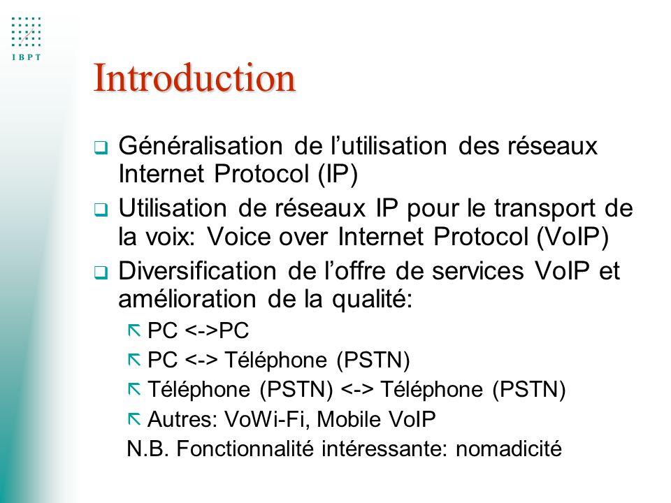 Introduction q Généralisation de lutilisation des réseaux Internet Protocol (IP) q Utilisation de réseaux IP pour le transport de la voix: Voice over