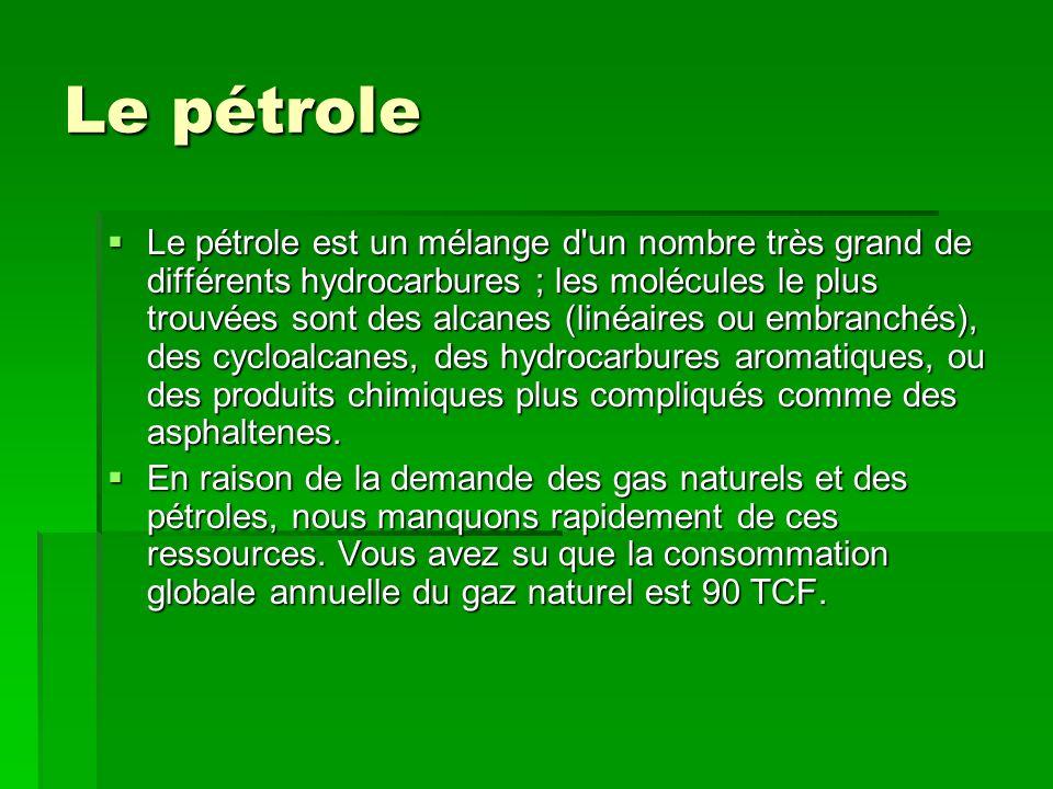 Le pétrole Le pétrole est un mélange d'un nombre très grand de différents hydrocarbures ; les molécules le plus trouvées sont des alcanes (linéaires o