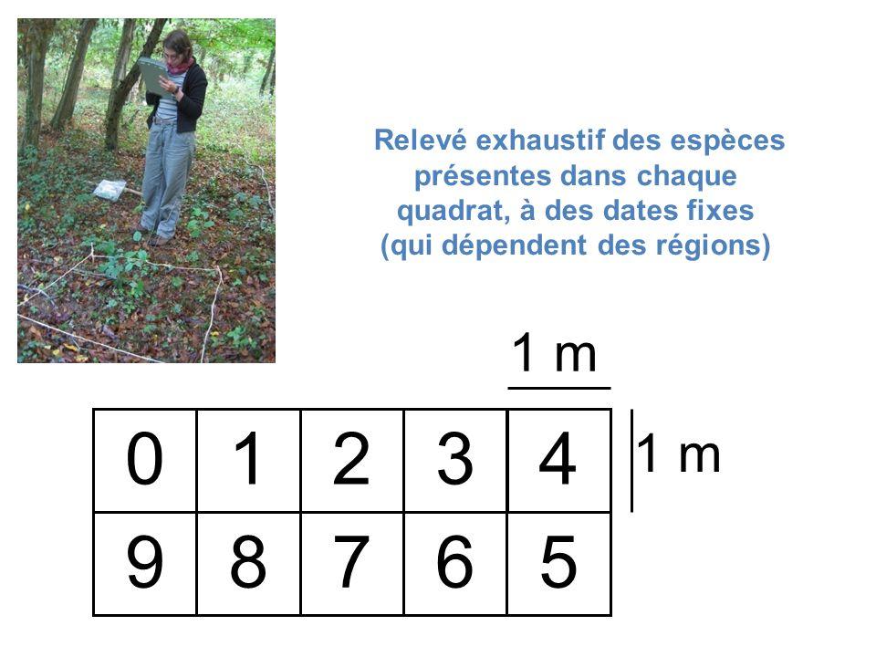 1 m 01234 59876 Relevé exhaustif des espèces présentes dans chaque quadrat, à des dates fixes (qui dépendent des régions)