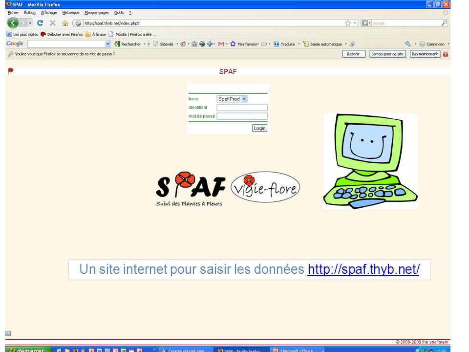 Un site internet pour saisir les données http://spaf.thyb.net/http://spaf.thyb.net/
