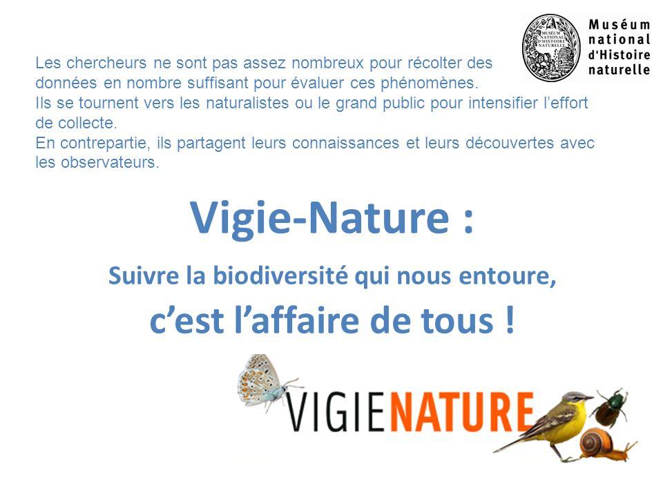 Vigie-Nature : Suivre la biodiversité qui nous entoure, cest laffaire de tous ! Les chercheurs ne sont pas assez nombreux pour récolter des données en