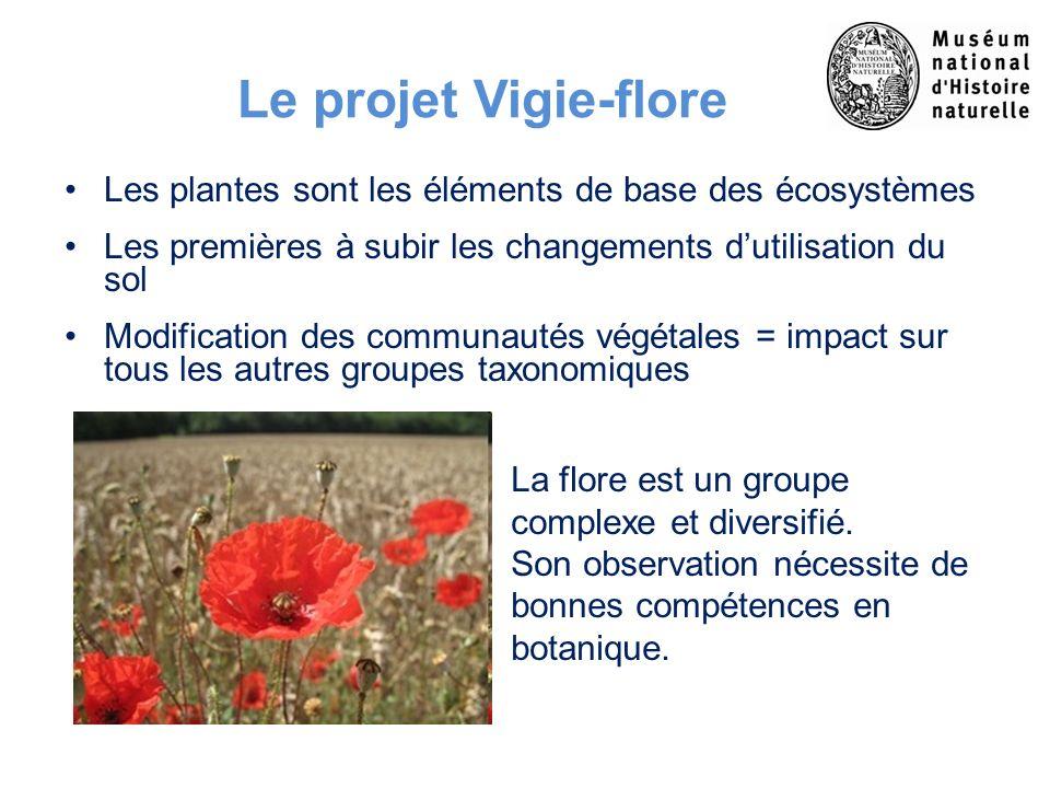 Le projet Vigie-flore Les plantes sont les éléments de base des écosystèmes Les premières à subir les changements dutilisation du sol Modification des