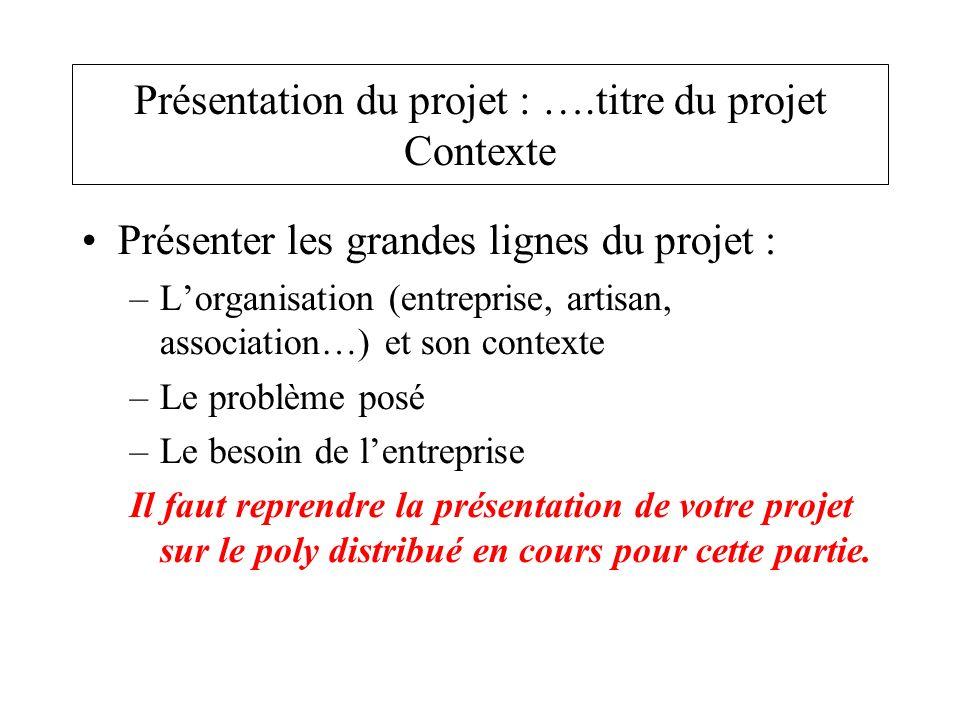Présenter les grandes lignes du projet : –Lorganisation (entreprise, artisan, association…) et son contexte –Le problème posé –Le besoin de lentrepris