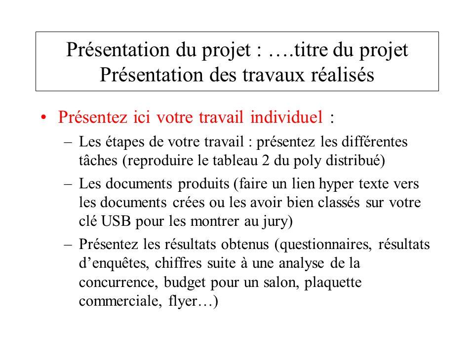Présentez ici le travail collectif : –La synthèse du travail individuel des autres membres du groupe Présentation du projet : ….titre du projet Présentation des travaux réalisés