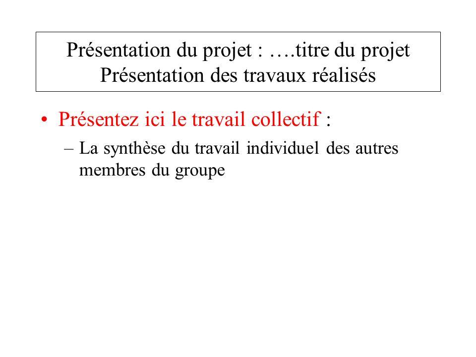 Présentez ici le travail collectif : –La synthèse du travail individuel des autres membres du groupe Présentation du projet : ….titre du projet Présen