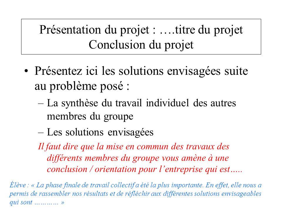 Présentez ici les solutions envisagées suite au problème posé : –La synthèse du travail individuel des autres membres du groupe –Les solutions envisag