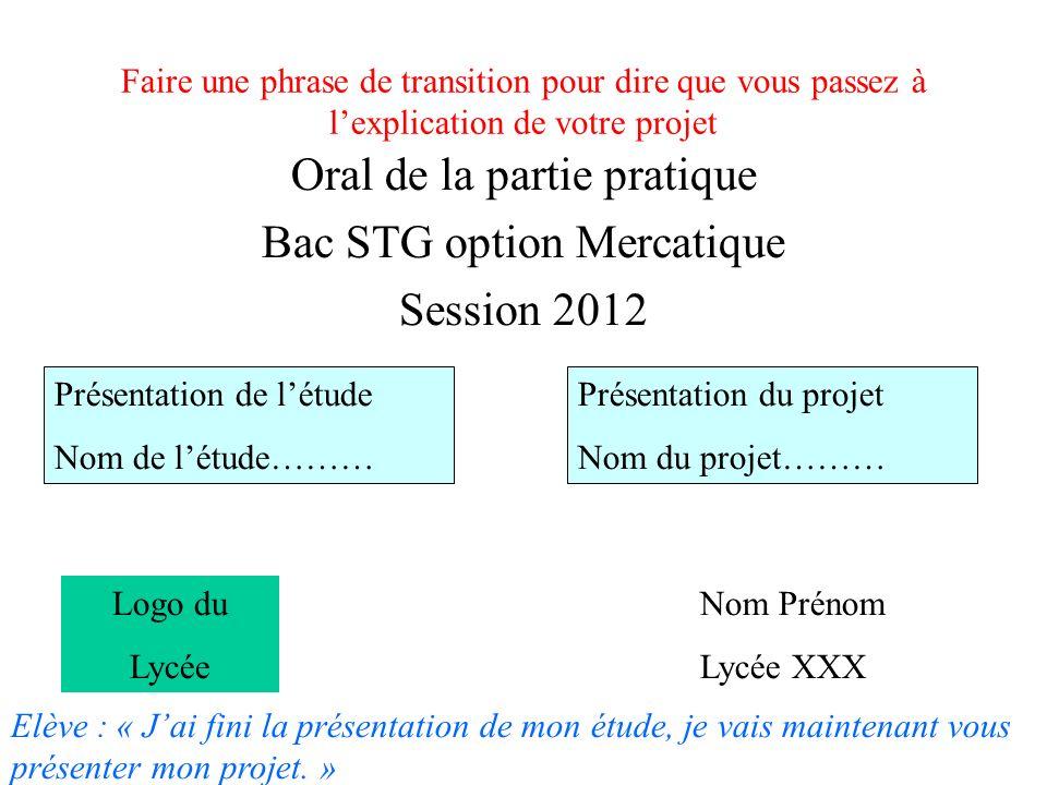 Faire une phrase de transition pour dire que vous passez à lexplication de votre projet Oral de la partie pratique Bac STG option Mercatique Session 2