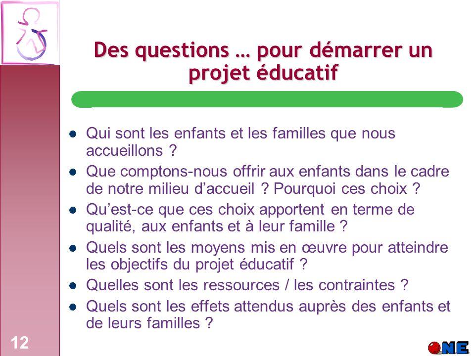 12 Des questions … pour démarrer un projet éducatif Qui sont les enfants et les familles que nous accueillons .