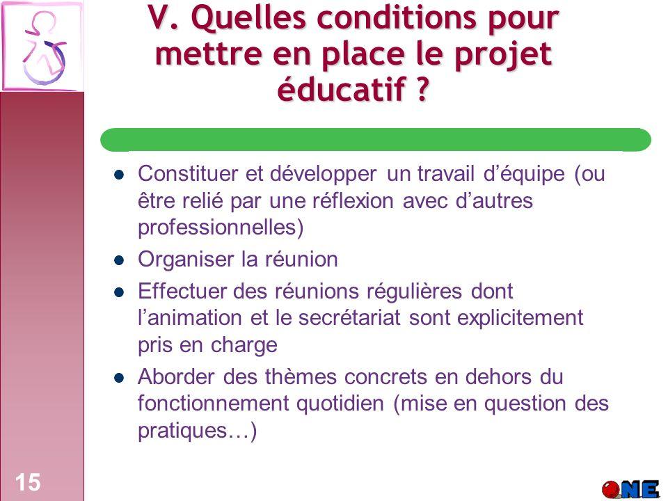 15 V.Quelles conditions pour mettre en place le projet éducatif .