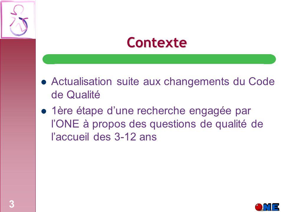 3 Contexte Actualisation suite aux changements du Code de Qualité 1ère étape dune recherche engagée par lONE à propos des questions de qualité de laccueil des 3-12 ans