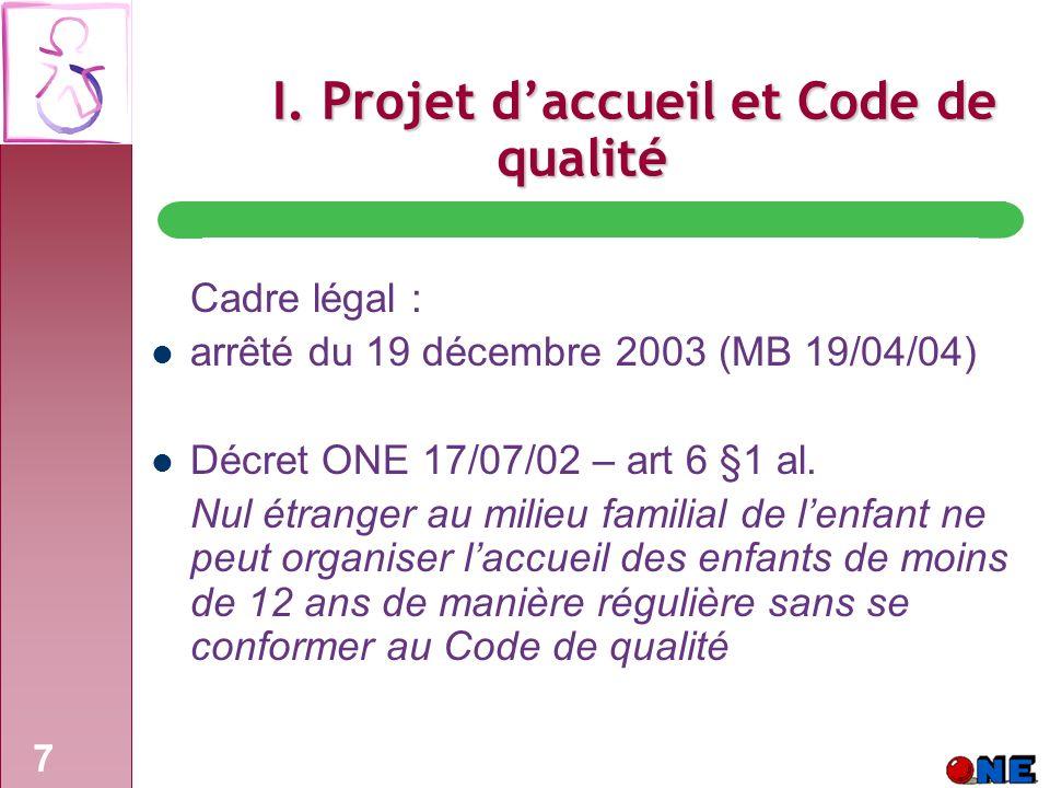 7 I. Projet daccueil et Code de qualité Cadre légal : arrêté du 19 décembre 2003 (MB 19/04/04) Décret ONE 17/07/02 – art 6 §1 al. Nul étranger au mili