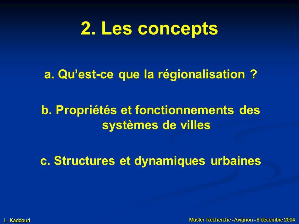 L. Kaddouri Master Recherche - Avignon - 8 décembre 2004 2. Les concepts a. Quest-ce que la régionalisation ? b. Propriétés et fonctionnements des sys