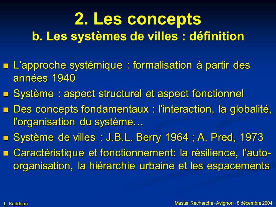 L. Kaddouri Master Recherche - Avignon - 8 décembre 2004 2. Les concepts b. Les systèmes de villes : définition Lapproche systémique : formalisation à