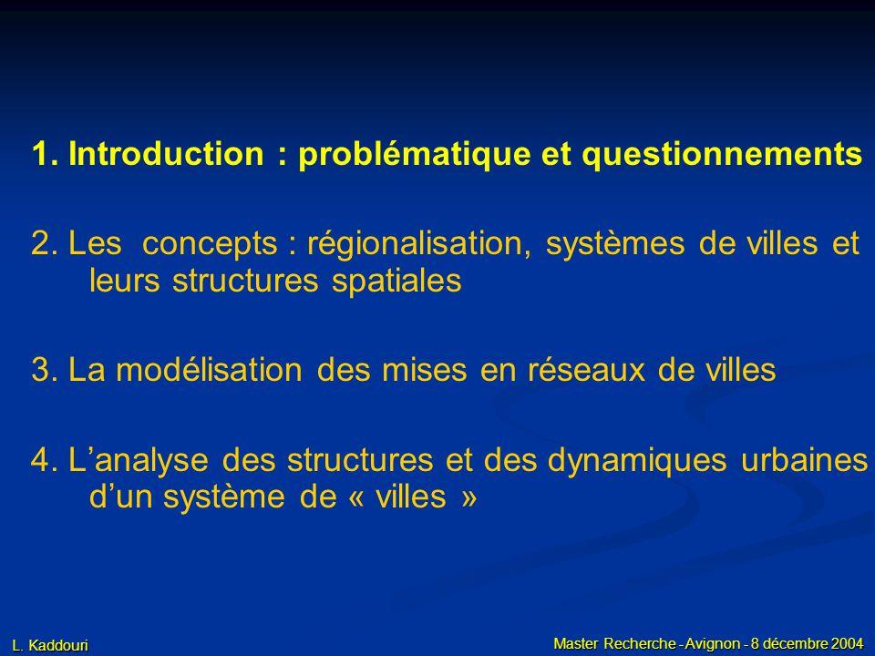 L. Kaddouri Master Recherche - Avignon - 8 décembre 2004 1. Introduction : problématique et questionnements 2. Les concepts : régionalisation, système