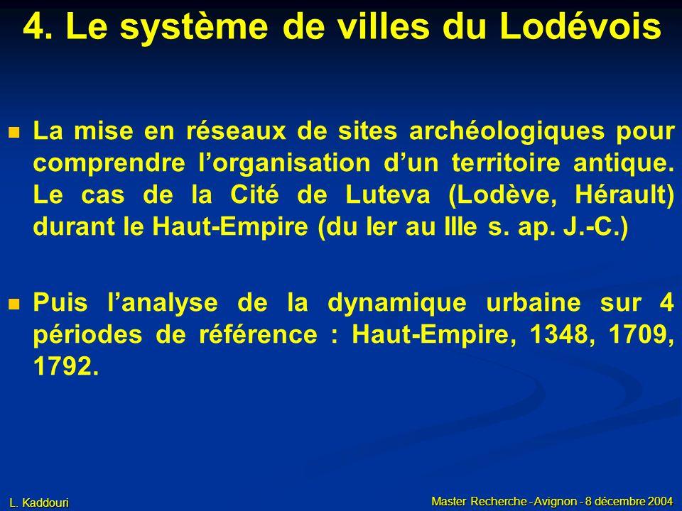 L. Kaddouri Master Recherche - Avignon - 8 décembre 2004 4. Le système de villes du Lodévois La mise en réseaux de sites archéologiques pour comprendr