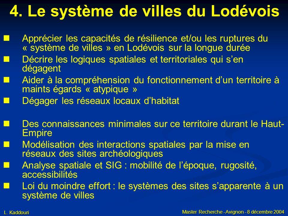 L. Kaddouri Master Recherche - Avignon - 8 décembre 2004 Apprécier les capacités de résilience et/ou les ruptures du « système de villes » en Lodévois