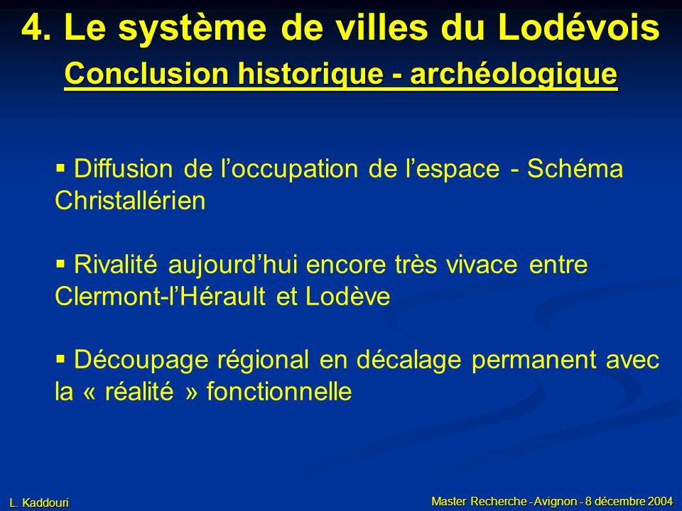 L. Kaddouri Master Recherche - Avignon - 8 décembre 2004 Conclusion historique - archéologique 4. Le système de villes du Lodévois Diffusion de loccup