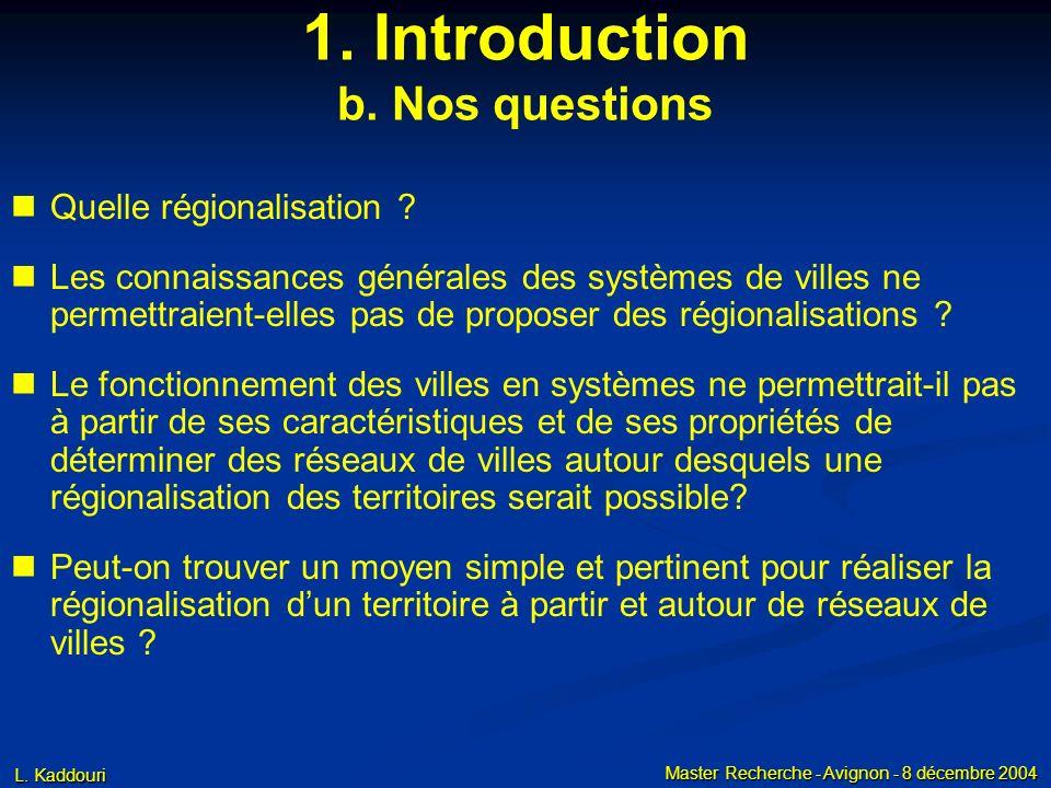 L. Kaddouri Master Recherche - Avignon - 8 décembre 2004 1. Introduction b. Nos questions Quelle régionalisation ? Les connaissances générales des sys