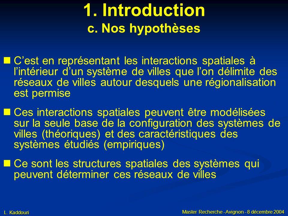 L. Kaddouri Master Recherche - Avignon - 8 décembre 2004 1. Introduction c. Nos hypothèses Cest en représentant les interactions spatiales à lintérieu
