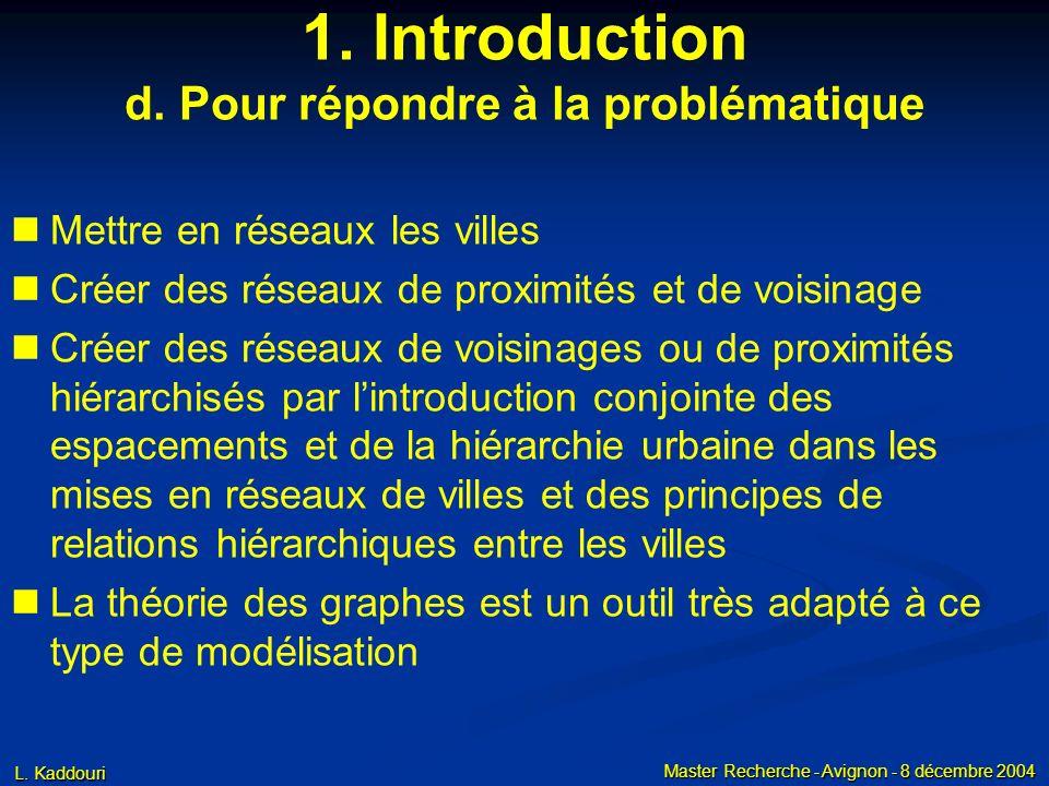 L. Kaddouri Master Recherche - Avignon - 8 décembre 2004 1. Introduction d. Pour répondre à la problématique Mettre en réseaux les villes Créer des ré
