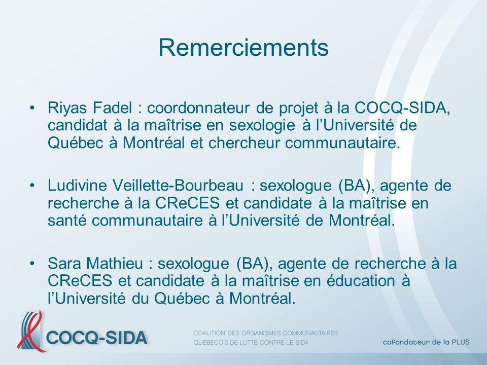 Remerciements Riyas Fadel : coordonnateur de projet à la COCQ-SIDA, candidat à la maîtrise en sexologie à lUniversité de Québec à Montréal et chercheur communautaire.