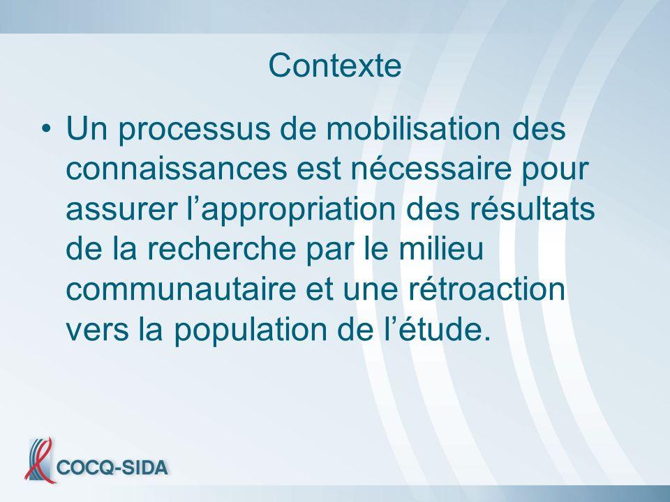 Contexte Un processus de mobilisation des connaissances est nécessaire pour assurer lappropriation des résultats de la recherche par le milieu communautaire et une rétroaction vers la population de létude.