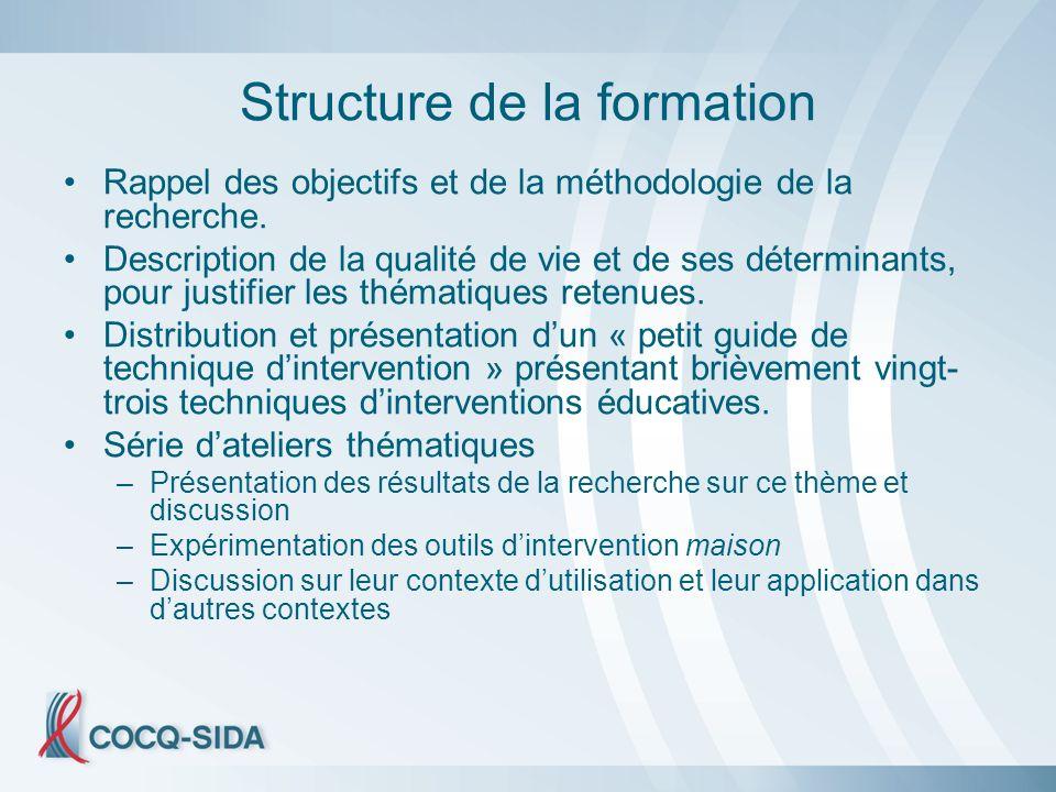 Structure de la formation Rappel des objectifs et de la méthodologie de la recherche.