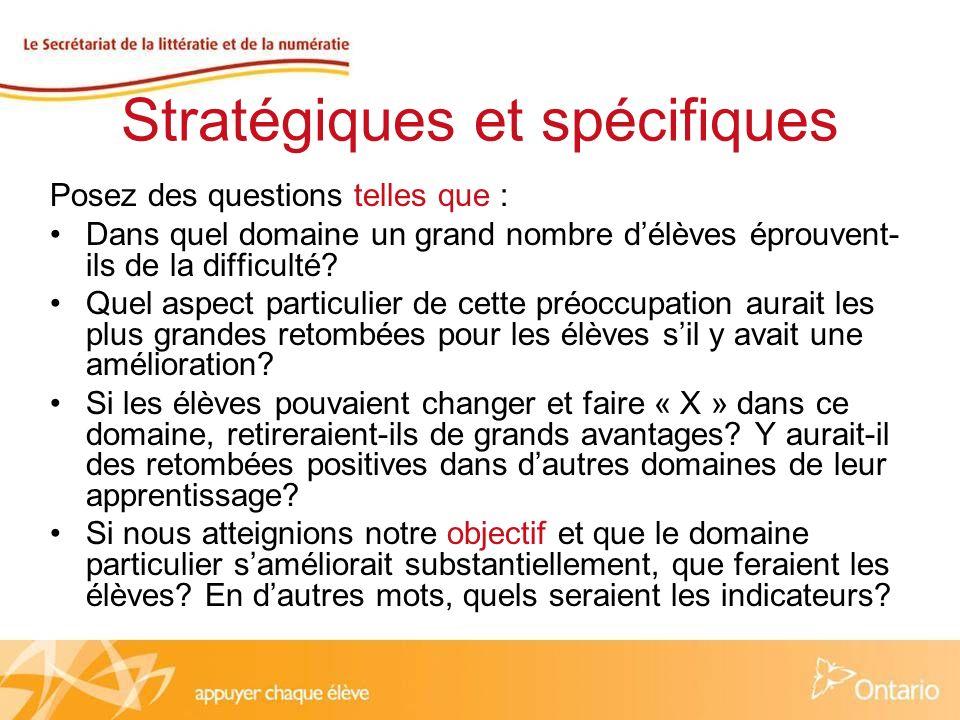 Stratégiques et spécifiques Posez des questions telles que : Dans quel domaine un grand nombre délèves éprouvent- ils de la difficulté.