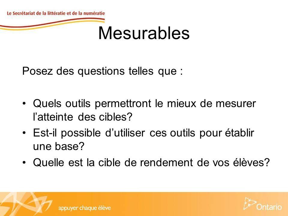 Mesurables Posez des questions telles que : Quels outils permettront le mieux de mesurer latteinte des cibles.