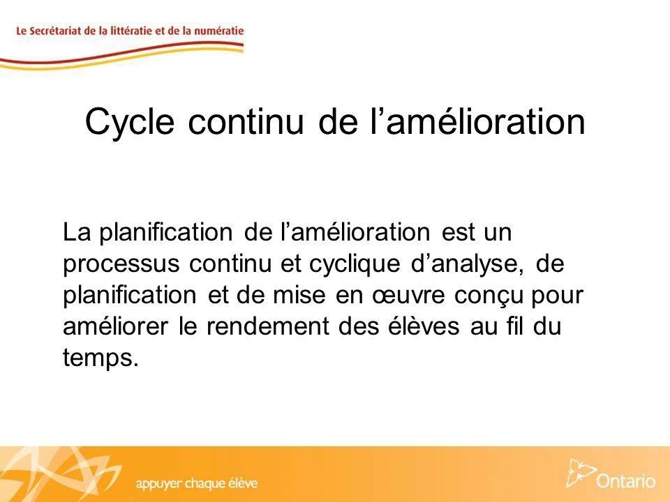 Cycle continu de lamélioration La planification de lamélioration est un processus continu et cyclique danalyse, de planification et de mise en œuvre conçu pour améliorer le rendement des élèves au fil du temps.